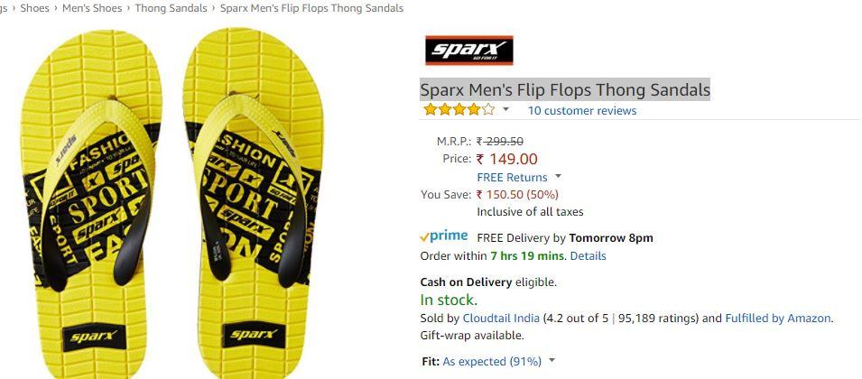 042d67b76944 Steal Price   Sparx Men s Flip Flops Thong Sandals at Just Rs.149 at ...