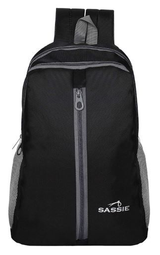 SASSIE Polyester 21 Ltr Black School Bag on 66% off