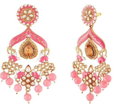 Flat 97% off on Apara Pink Traditional Min Meena Pearl drop LCt stones Fancy Latest Earring jewellery for Grils/Women