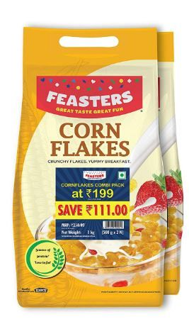Feasters Corn Flakes Plain Pouch, 1kg at Rs. 169
