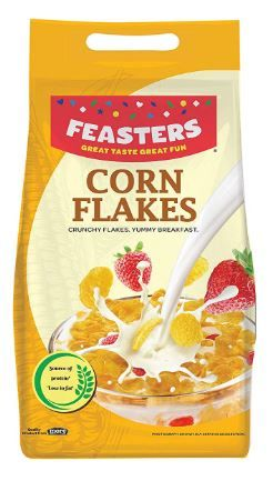 Flat 43% off on Feasters Corn Flakes Plain Pouch, 500g