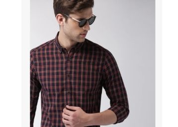 Harvard Navy Blue & Red Checked Casual Shirt at Just Rs.379