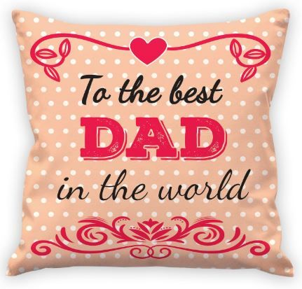 Flat 65% off on Aart Cushion Cover with Filler and Greeting Card for Fathers
