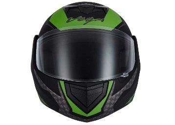 Vega Crux DX Checks Full Face Helmet (Dull Black and Green, L) At Rs.304