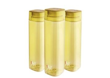 Cello H2O Squaremate Plastic Water Bottle, 1-Liter, Set of 3, Yellow At Rs.258