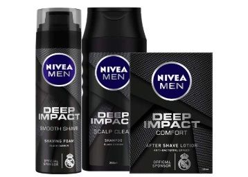 Flat 50% off on Nivea Deep Impact Shaving Foam, 200ml and After Shave Lotion, 100ml with Shampoo, 250ml