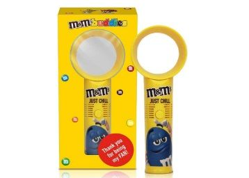 M&Ms Portable Bladeless Handheld Toy Fan 24cm Diwali Gift Pack with Milk Chocolate Candies at Rs.499