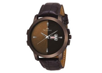 Flat 84% off on SWISSTONE Analogue Brown Dial and Leather Strap Men