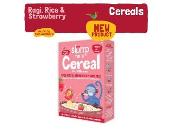 Apply 50% Coupon - Slurrp Farm Organic Baby Cereal, Ragi, Rice and Strawberry with Milk, Instant Healthy Wholesome Food for Babies, 200g