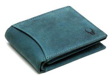 WildHorn RFID Protected 100% Genuine High Quality Mens Leather Wallet (Blue Hunter) at Rs. 490