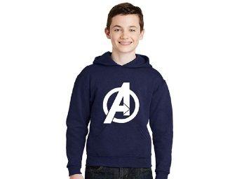 Flat 44% off on Avaatar Navy Blue Hooded Superhero Sweatshirt for Kids at Rs.
