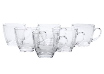 Flat 65% off on SQUARE ORIGINAL 6 Crystal Glass Mugs (Set of 6) for Tea and Coffee 175 ml at Rs.353