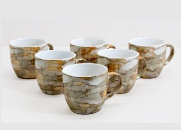 Flat 60% off on Fnp Farkrafts Ceramic Golden Brown Gloss Finish Tea And Coffee Cups (Set Of 6) at Rs. 399