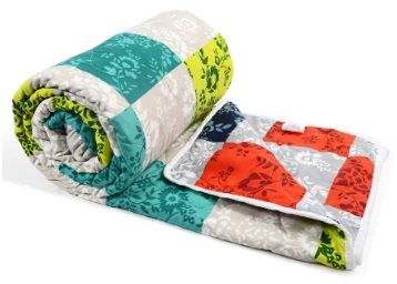 Divine Casa Microfibre Comforter/Blanket/Quilt/Duvet Lightweight, All Weather Single Comforter, Abstract- Lime Green and Red at Rs. 799