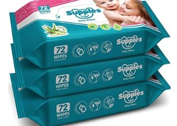 50% Off: Supples Baby Wet Wipes with Aloe Vera and Vitamin E, 72 Wipes/Pack, (Pack of 3) at Rs. 195