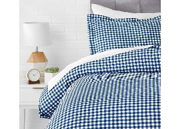 AmazonBasics Microfiber 2-Piece Quilt/Duvet/Comforter Cover Set - Single, Gingham Plaid - with Pillow Cover at Rs.299