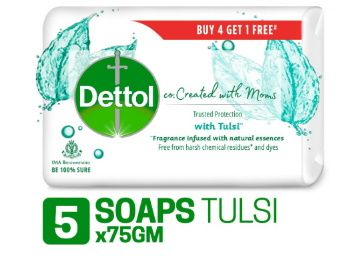 Dettol Co-created with moms Tulsi Beauty Bathing Soap, 75gm (Buy 4 Get 1 Free) at Rs. 128