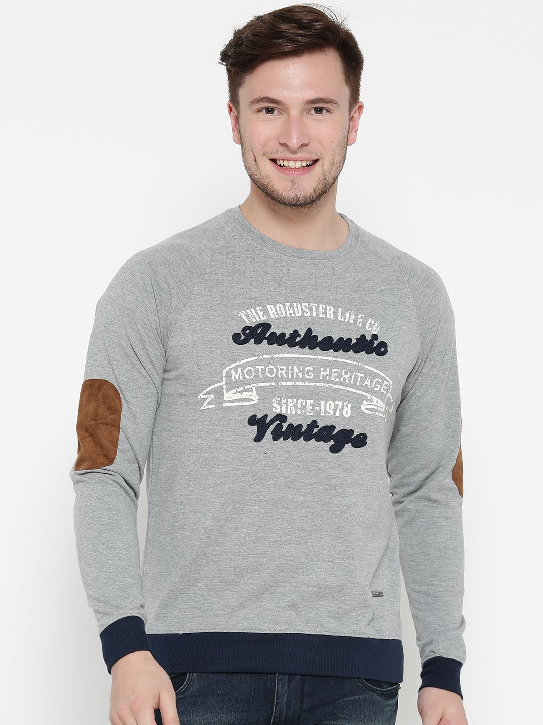 Men Grey Melange Printed Sweatshirt