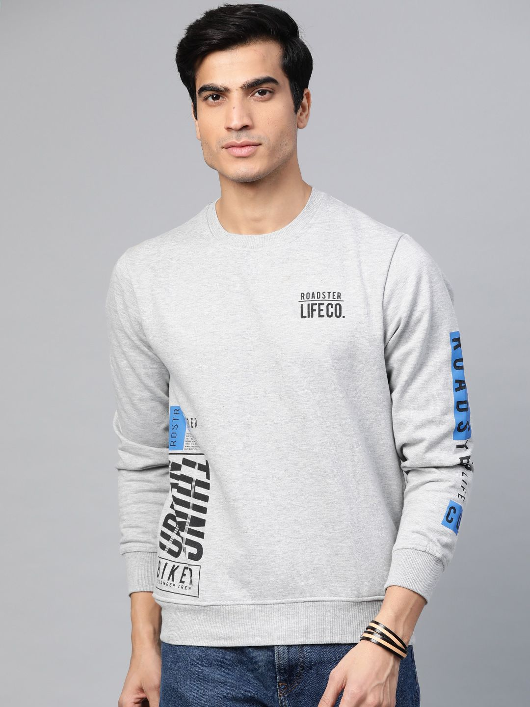 Roadster Men Grey Melange Printed Sweatshirt