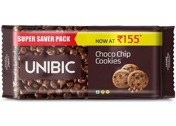 Flat 50% off on UNIBIC Choco Chip Cookies, 500 g (5 x 100g) at Rs. 82