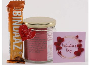 Ferns N Petals Beautiful Glass and Valentines Tag with Valentines Expressions Quotes for Each Day & 2 Cadbury Chocolates Candy | Valentines Gift at Rs. 99