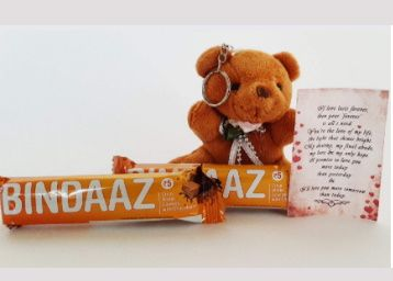 Ferns N Petals Brown Teddy Key Chain with 2 Bindaaz Chocolates with Love Message | Valentines Gift at Rs. 99