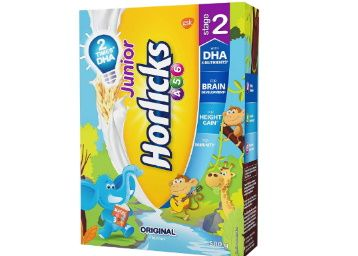 Junior Horlicks Stage 2 (4-6 years) Health and Nutrition drink - 500 g Refill pack (Original flavor) at Rs. 255
