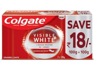 Apply 10% Coupon - Colgate Visible White Dazzling White Toothpaste, Sparkling Mint - 200gm at Rs. 132