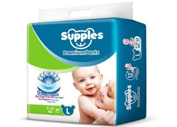 Flat 40% off on Supples Regular Baby Pants Large Size Diapers (62 Count) at Rs. 565