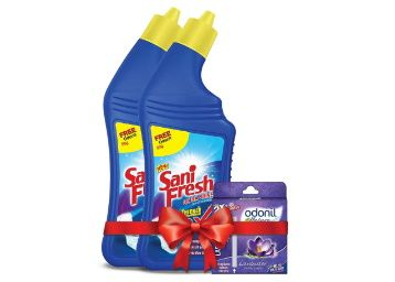 Sanifresh Ultrashine 1L ( 500 + 500) Toilet Cleaner -1.5X Extra Strong Extra Clean with Odonil Room Freshner Blocks 50 g Free at rs. 115