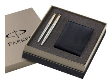 Parker Galaxy Gold Trim Roller Ball pen and Ball Pen with Free Wallet (Stainless Steel) At Rs.803