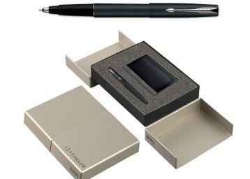 Parker Frontier Matte Black Chrome Trim Roller Ball Pen Gift Set - Blue Ink, with Card Holder At Rs.827