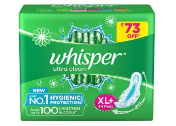 Whisper Ultra Clean Sanitary Pads for Women, XL+ 44 Napkins at Rs. 347