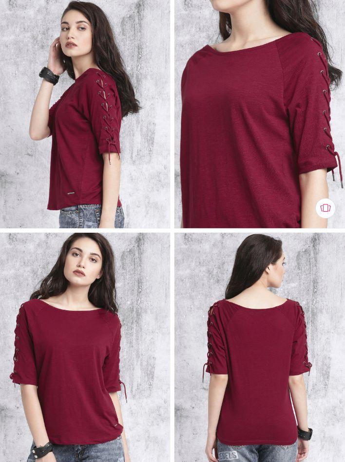 Roadster Women Burgundy Solid Round Neck T-shirt