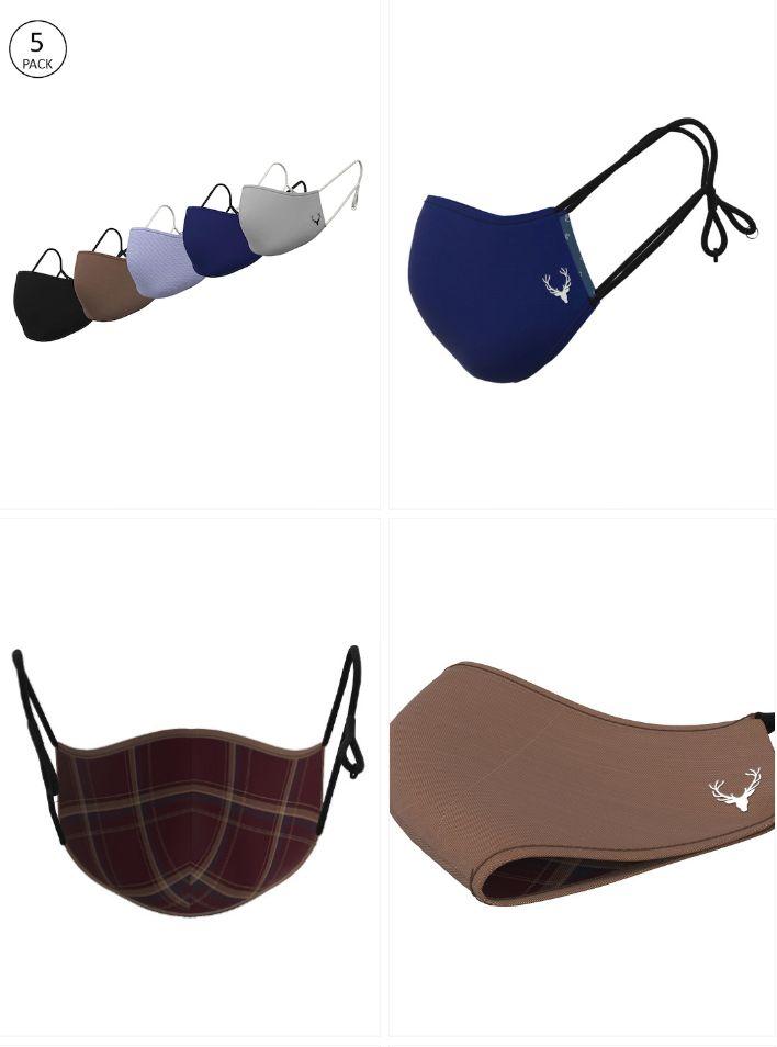 Allen Solly Men 5 Pcs 3-Ply Reusable Adjustable Outdoor Cloth Masks