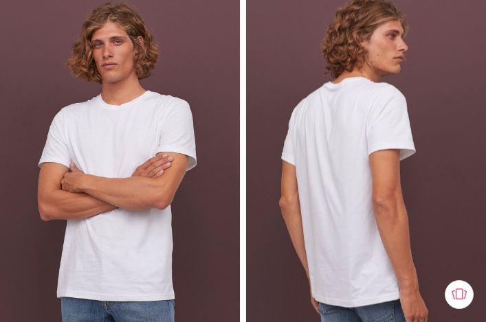H&M Men White Solid Cotton T-shirt Regular Fit
