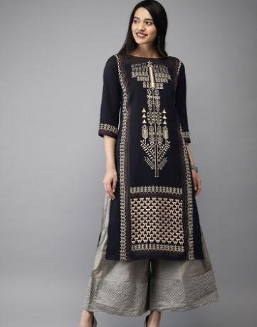 Anouk Women Black & Off-White Printed Straight Kurta