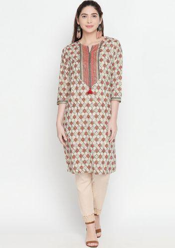 Rangmanch By Pantaloons Women Grey & Off-White Printed Straight Kurta
