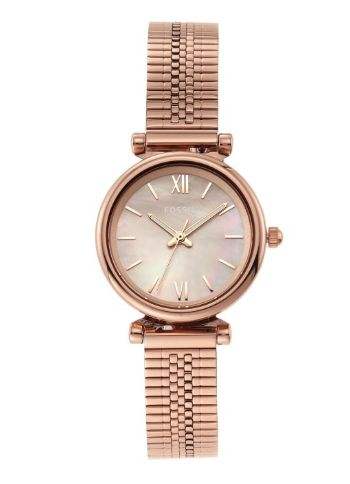 Fossil Women Rose Gold-Toned Carlie Mini Analogue Watch