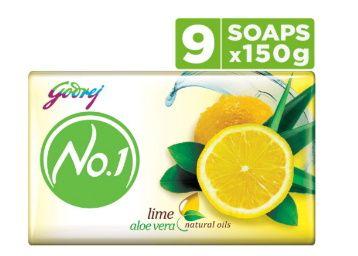 Godrej No.1 Bathing Soap Lime & Aloe Vera, 150g (Pack of 9) at Rs. 200