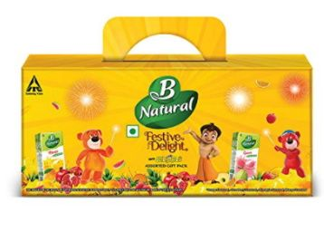 B Natural Juice Festive Delight Assorted Kids Pack with Jelimals, (6X180ml) At Rs. 170