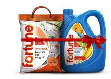 Fortune Vivo Pro Sugar Oil 5L Jar + Fortune Everyday Full Grain basmati Rice 5 Kg at Rs. 990