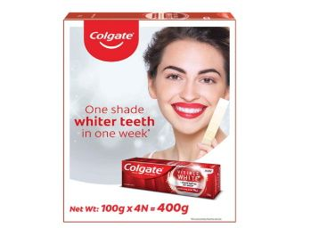 Colgate Visible White Teeth Whitening Toothpaste, Protects Enamel, Removes Stains, With Whitening Accelerators, 400g, 100g X 4 at Rs. 297