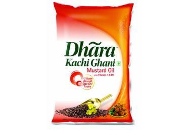 Dhara Kachhi Ghani Mustard Oil, 1L Pouch at Rs. 125