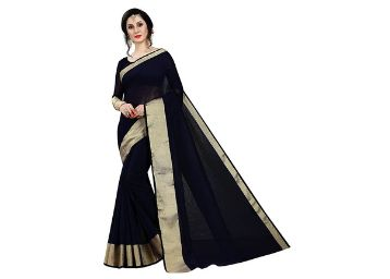 PERFECTBLUE Cotton Silk with Blouse Piece Saree