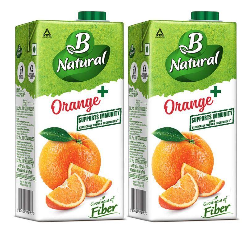 B Natural Orange+ Juice, 1L (Pack of 2) at Just Rs.120