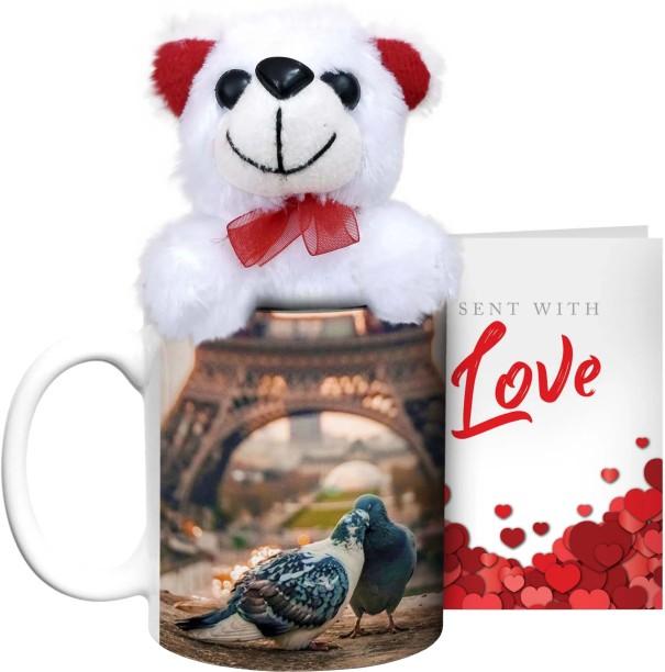 Hot Muggs Paris Love Pigeons with Teddy & Card Ceramic Mug