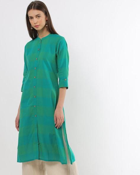 SIYAHI Green Straight Checked Straight Kurta with Mandarin Collar