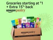 Product Added: Pantry Grocery at Rs. 1 + Extra 15% Cashback