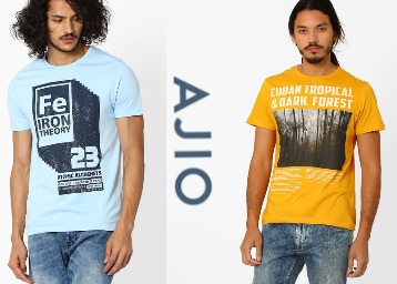 44ab08895 Get Minimum 50% Off On Ajio Men's Tshirts From Rs.199 + FREE SHIPPING